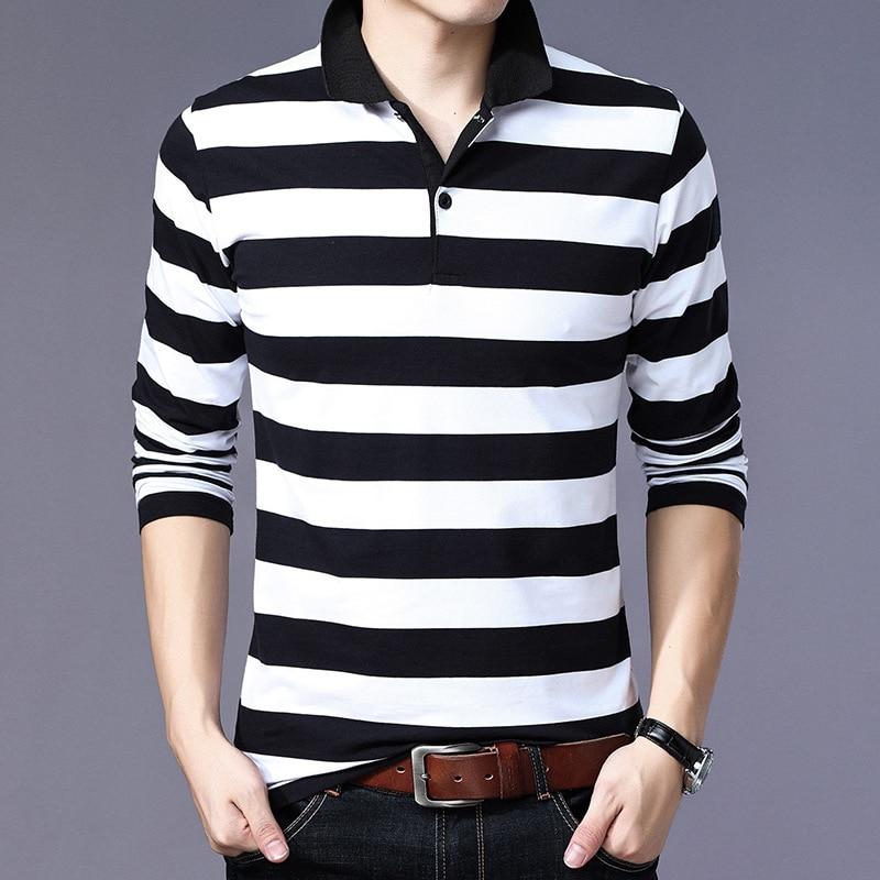 ARCSINX Striped   Polo   Shirt Men Long Sleeve England Style Cotton   Polo   Men Plus Size 5XL Fashion Slim Fit Camisa   Polo   Masculina