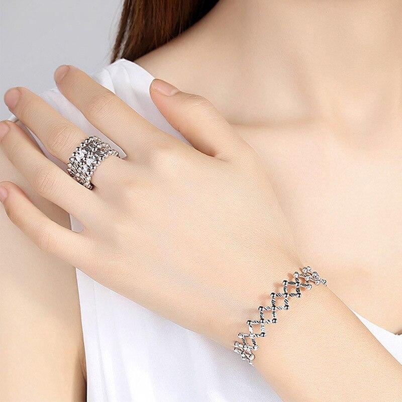 Bagues de fiançailles bijoux de marque de mode pour femmes S925 bague en argent sterling déformée 925 bagues d'amour en argent sterling - 4