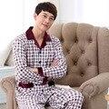 Alta Qualidade outono e inverno Nova algodão longo-manga comprida xadrez cardigan de algodão dos homens pijamas set 042