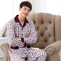 High Quality autumn and winter New cotton long-sleeved plaid cardigan cotton mens pajamas set 042