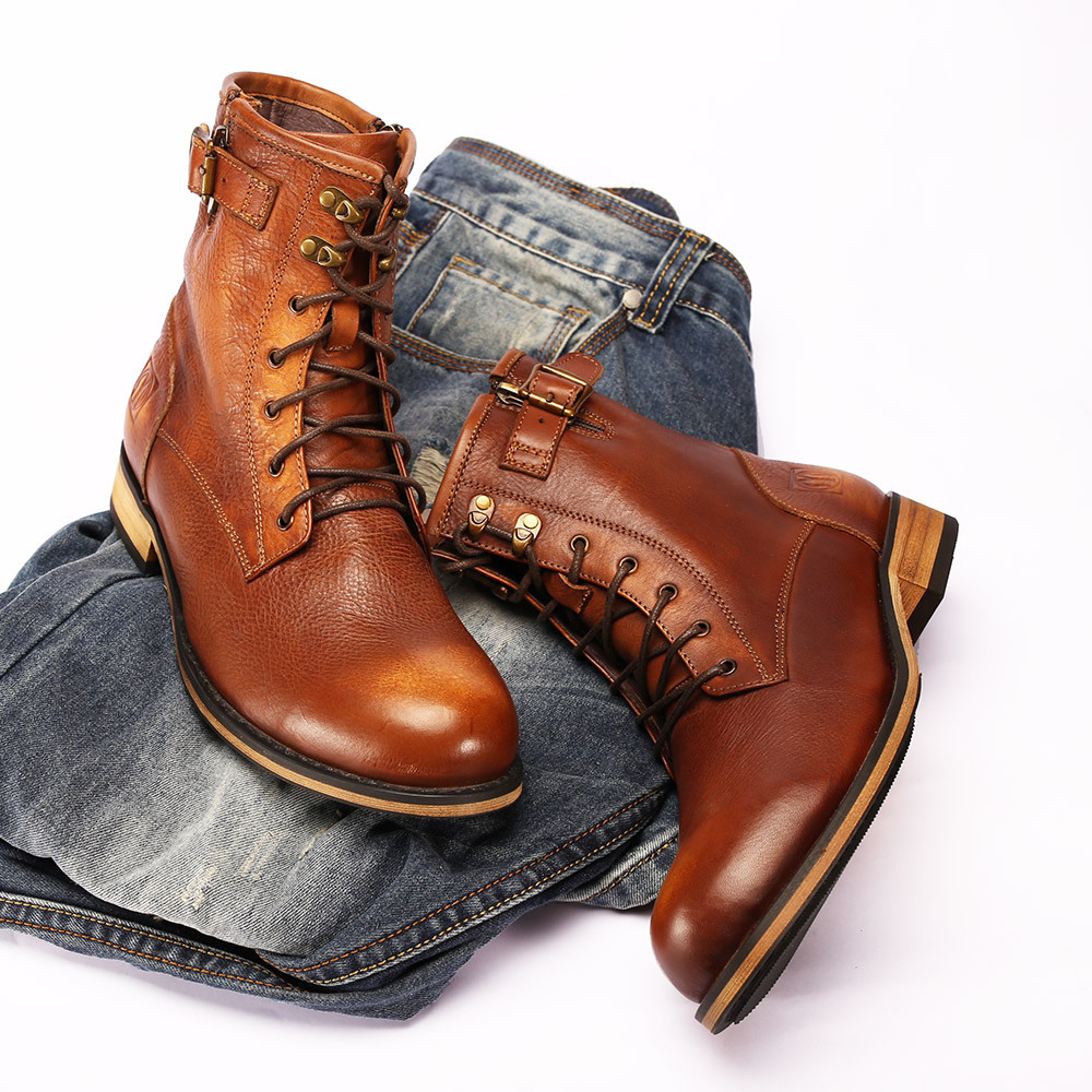 New England Retro Round Head Men's Boots Brown Purple Leather Martin Boots Tooling Boots