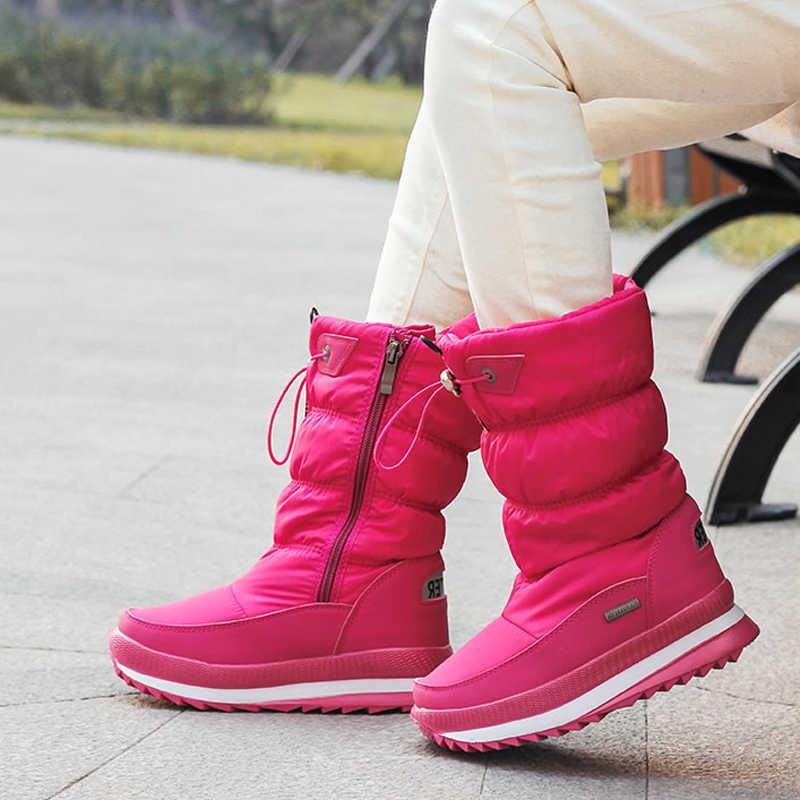2019 kış platformu kadın botları çocuk kauçuk kaymaz kar botları ayakkabı kadınlar için su geçirmez sıcak kış ayakkabı Botas