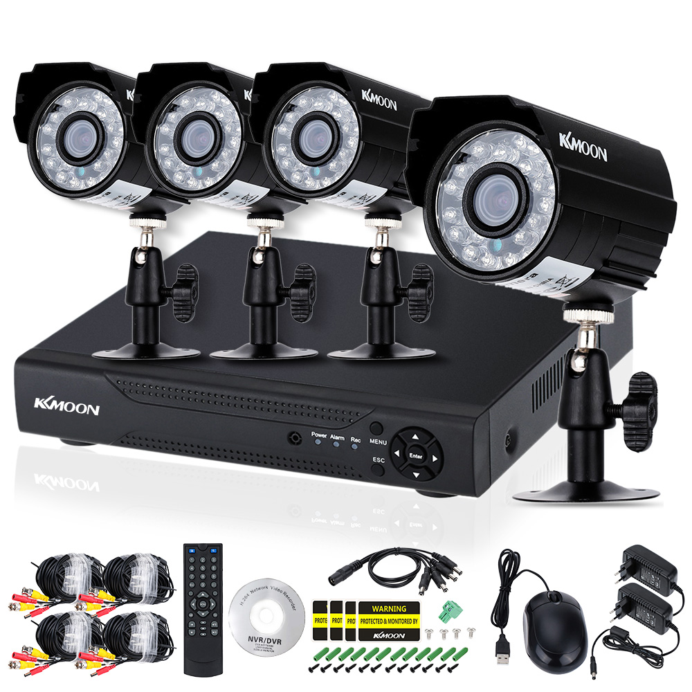 KKmoon 4CH AHD DVR Kit 4pcs Waterproof 720P IR Security Camera System Outdoor Home Security System