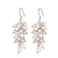 Hot Sale Grape Natural Pearl Freshwater Pearl Drop Dangles Earring Wedding Bridal New Fashion Cluster Pearl