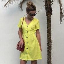 Women Vintage Button A-line Party Dress Short Sleeve Solid V Neck 2019 Summer New Fashion Mini Womens Vestidos