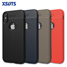 XSDTS For iPhone 8 Phone Case For iPhone 7 Plus Case Luxury Brushed Genuine Leather Soft TPU For iPhoen X 6 6s Cover Back(China)