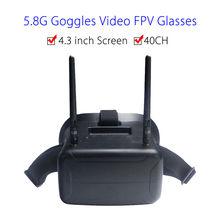 F2-11B 5.8G 40CH FPV Goggle Video Glasses 4.3 inch Screen W/Battery FOV 80 degree For Walkera Runner 250 FPV Drone Monitor