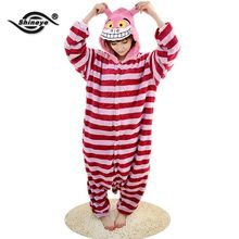 Shineye Cheshire Cat Unisex Adults Flannel Hooded Pajamas Cosplay Cartoon Animal Onesies Sleepwear Free Shipping
