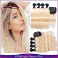4PCS With Closure Peruvian Straight Two Tone Blonde Ombre Human Hair Weaves T1B/613 Peruvian Ombre Hair Bundles With Closure
