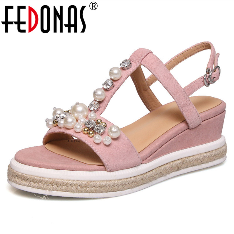 FEDONAS Summer New Pearl Decoration Fashion Sweet Women Sandals Classic Kid Suede Wedges Shoes Woman Party