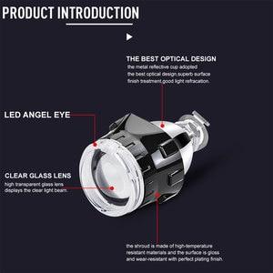 Image 3 - RACBOX Universale da 2.5 pollici Led di Angelo occhi Bi xeno Proiettore lenti di Guida Della Luce DRL H4 H7 Auto Retrofit Per Lo Styling uso H1 Lampada
