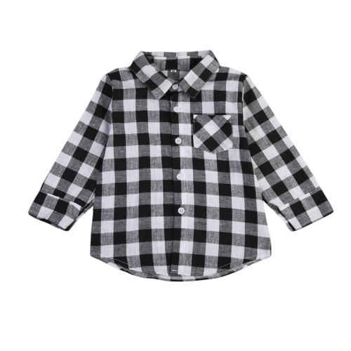 Baby Kids Boy Girl Long Sleeve Shirt Plaid Check Tops Blouse Casual Clothes