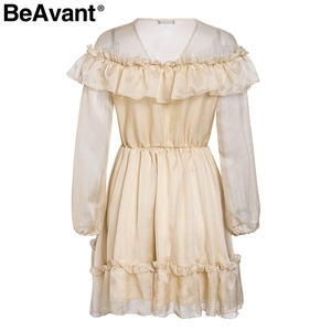 Image 5 - BeAvant Elegant ruffle victoria short party dress women V neck sexy mesh summer dress vintage Long sleeve pleated ladies dresses
