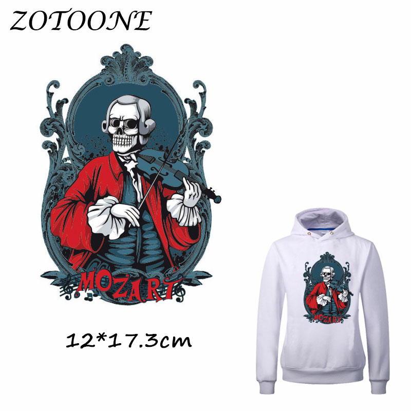 ZOTOONE Musician MOZART Skull Patch for Clothes T Shirt Ironing on Patches Sticker DIY Heat Transfer Accessory Washable Applique