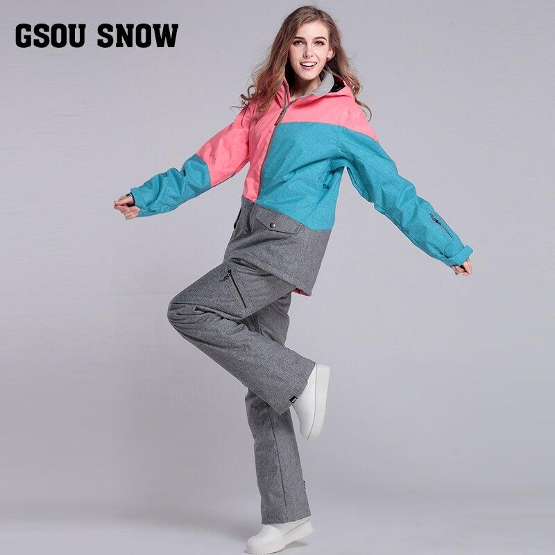 GsousnowPlus taille femmes Ski Ski-wear imperméable randonnée extérieur veste Snowboard veste Ski costume femmes grande taille neige vestes - 5