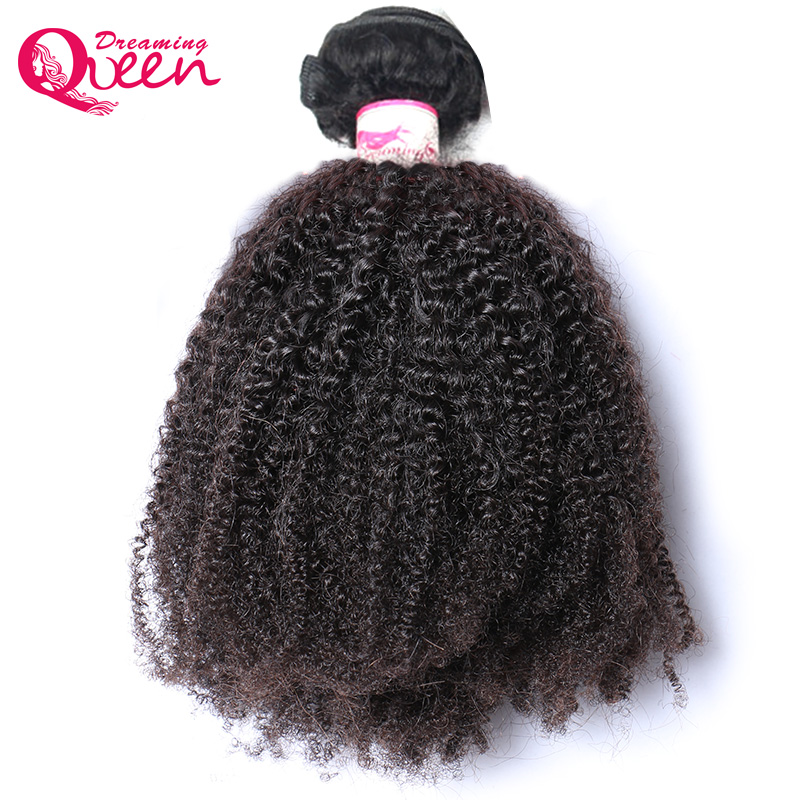 Dreaming Queen Remy Hair 4B/4C Afro Kinky Curly Weave Bundle Mongolian Human Hair Only 1 Bundle Extension Natural Black 1B Color