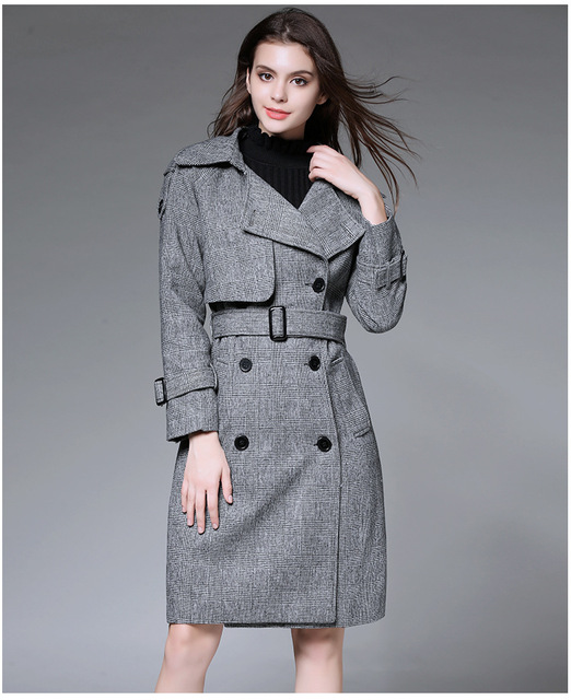 British Style Women's coats Spring and Autumn Turn-Down Collar Women Overcoat With Belt Solid Gray Trench Coat for Women