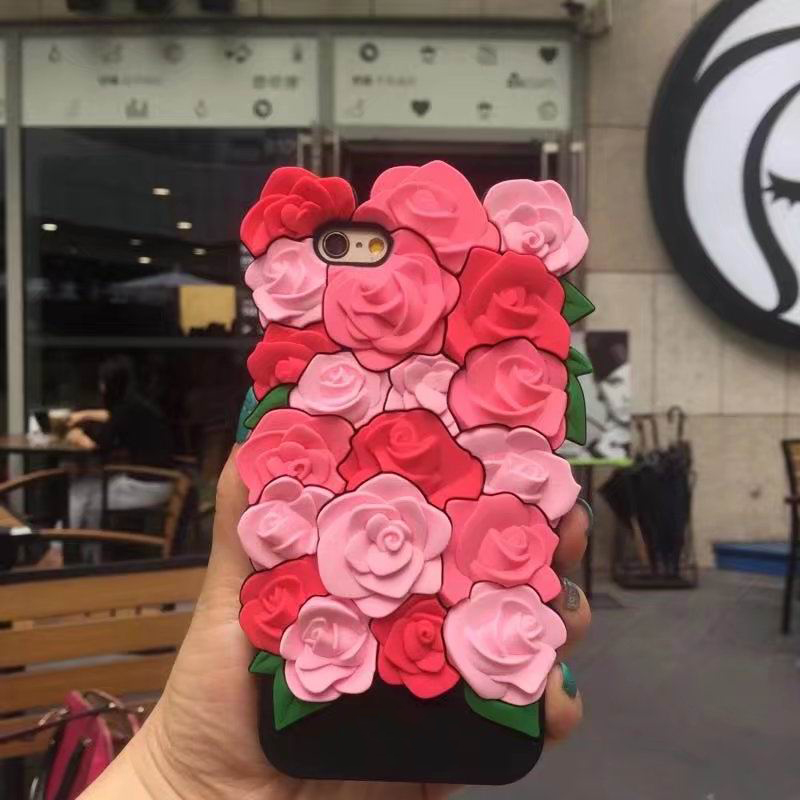 Fashion sexy girl perfume lipstick rouge simulation 3D Rose Flower Leaves flowe case cover For Iphone 6 6S 7 Plus 5 5S SE Soft