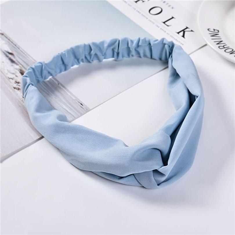 Haimeikang Women   Headwear   Solid Color Cross Elasticity Hair Band Cotton Headbands Retro Turban Bandage Bandana Hair Accessories