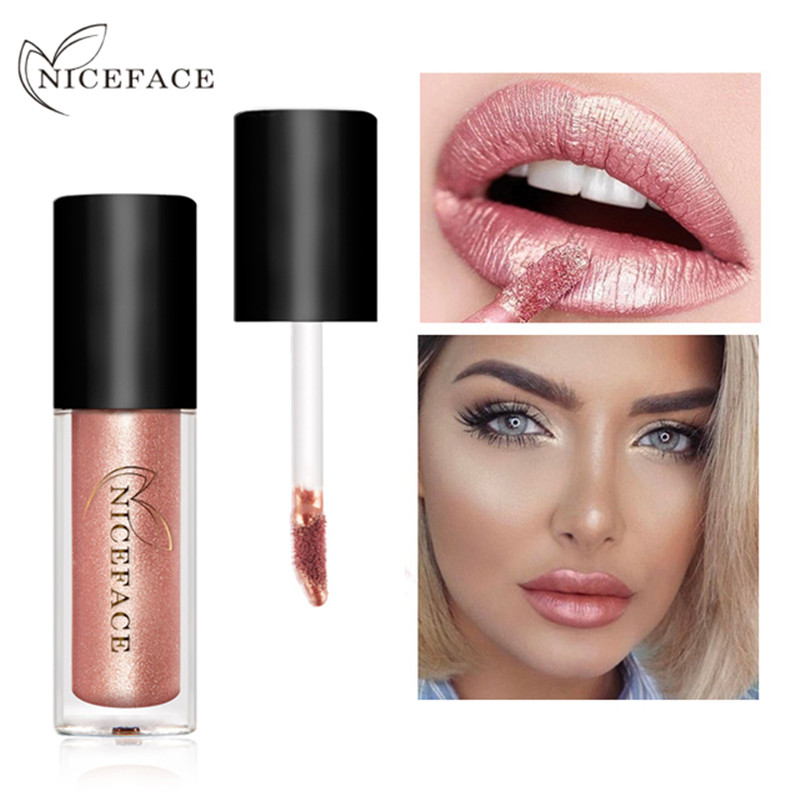 NIZZA GESICHT 12 Farben Metall Lippenstift Wasserdichte Matte Flüssigkeit Lippenstift Long Lasting Lip gloss Make-Up Kosmetik Nude Lip Tint Kit image