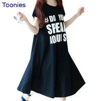 Cotton Letter Pattern Girls Dress Loose Summer Girls Dresses Children's Clothes Kids Vestidos School Streeet Toddler Clothing