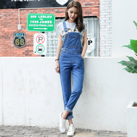 Fashion Spring Summer New Female Loose Denim Jumpsuits For Women 2017 Bib High Waisted Trousers AD9350