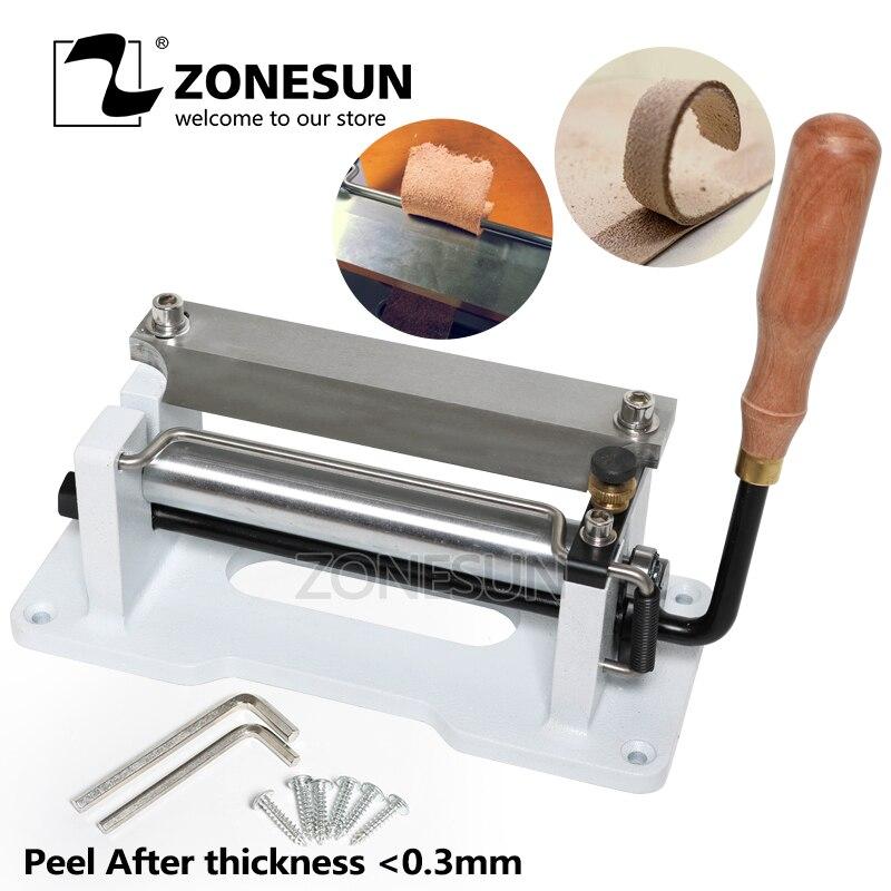 ZONESUN 6 pouces Manuel En Cuir Skiver Gérer Éplucher Outils DIY Pelle Peau Machine En Cuir Splitter Tannage Végétal Peeler