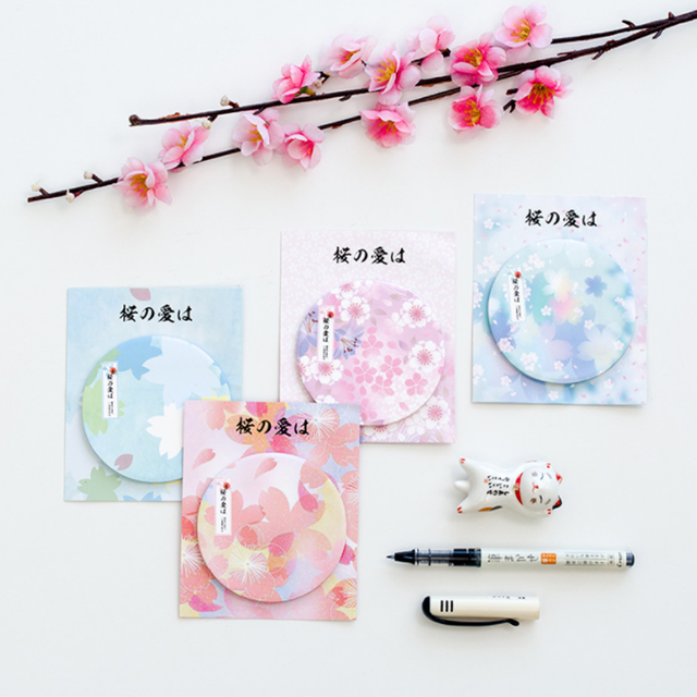 4 Pack Lot Kawaii Fleur Sakura Memo Pad Collant Notes Mignon Bureau