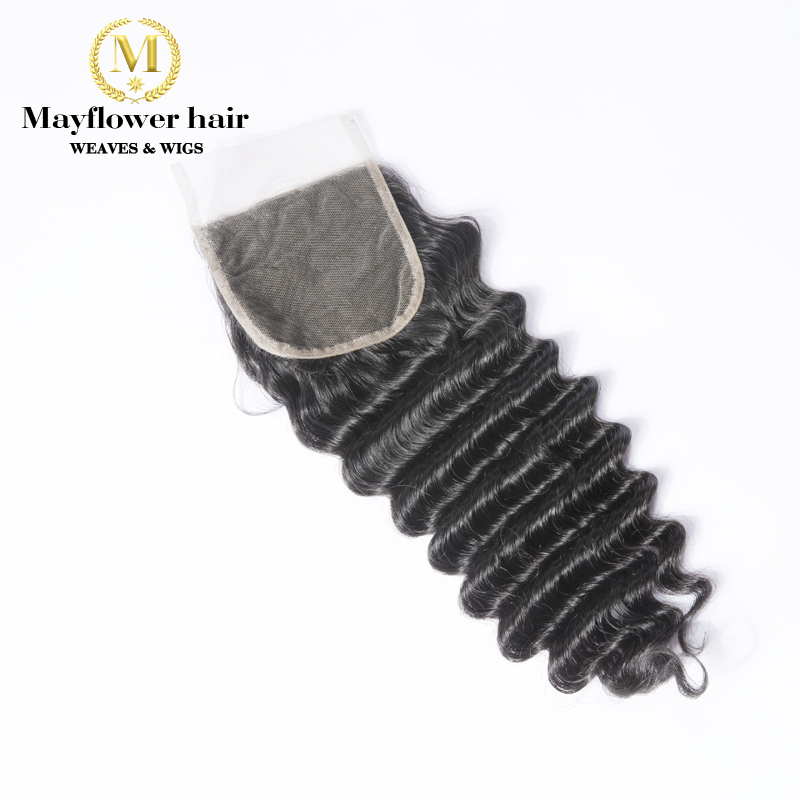 "Mayflower 4X4"" Funmi Hair Beyonce Curl Lace Closure Remy Hair Natural Black Free Parting Or Middle Parting 8-16"" Free Shipping"