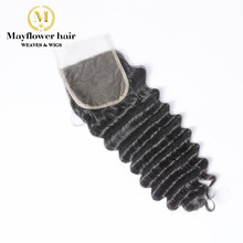 "Mayflower 4X4"" Funmi hair Beyonce curl Lace closure Remy hair Natural black Free parting or Middle parting 8-16"" Free shipping(China)"
