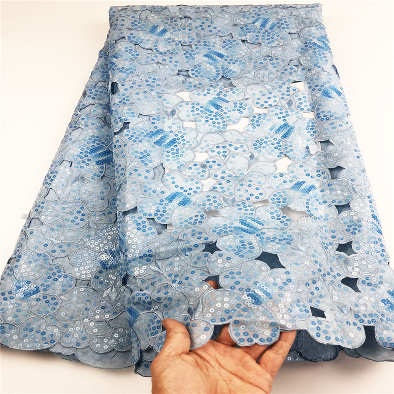 African organza fabric 2019 double organza lace fabric Sequins Swiss voile lace wedding African Dress fabric