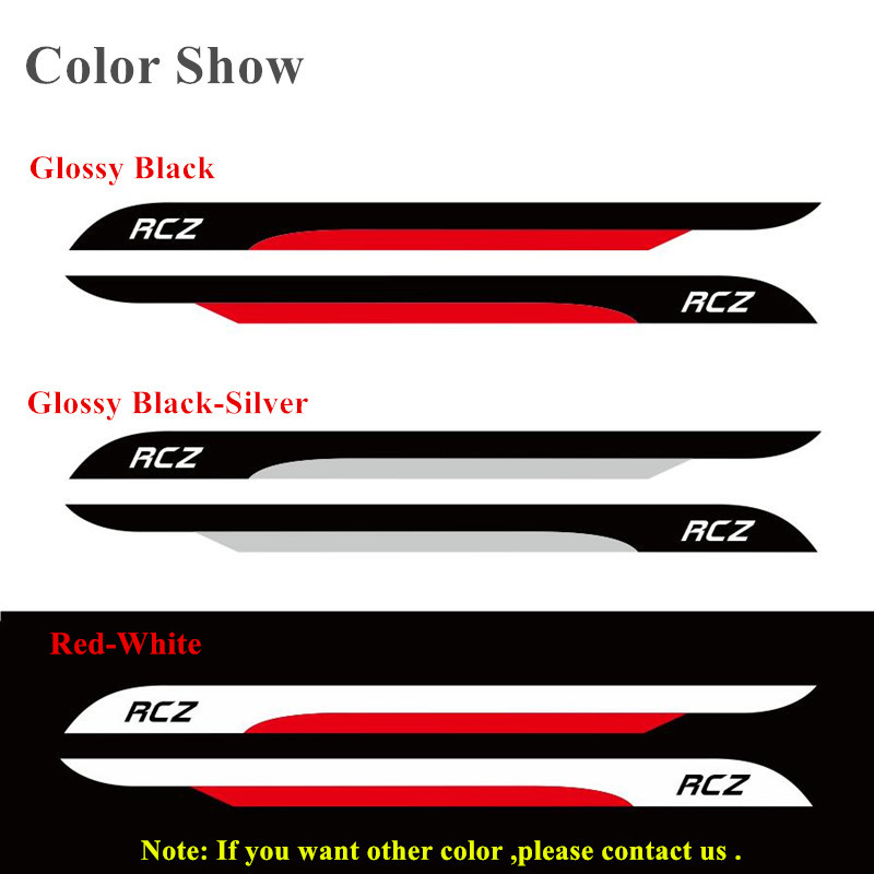 Image 3 - Auto Door Side Skirt Stripes Sport Styling KK Vinyl Decal Car Accessories Body Customized Sticker For PEUGEOT RCZ 2011 2014-in Car Stickers from Automobiles & Motorcycles