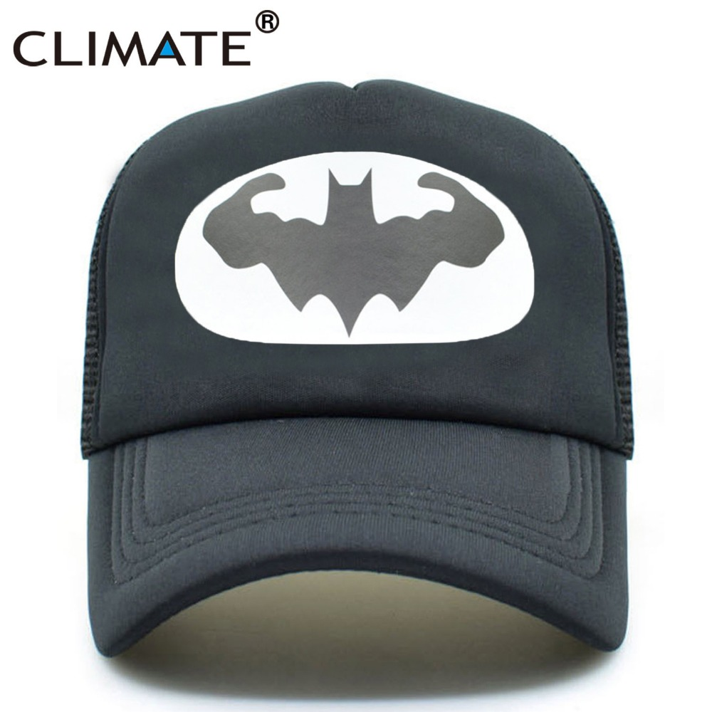CLIMATE Men Summer Mesh Trucker Caps GYM Fitness Fans Black Cool Mesh Cap Shape Bodybuilding Muscle Batman Man Caps Hat For Men