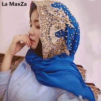 Women beaded hijab femme musulman turban scarf orange muslim turbante mujer shawl hoofddoek headscarf green islamic bead hijabs