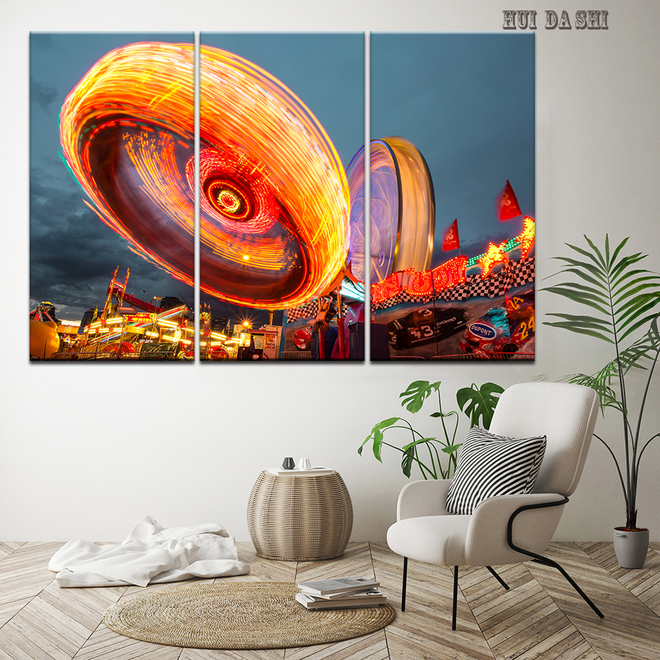 Canvas Wall Art Pictures Living Room Home Decor 3 Pieces Long Exposure City Lights Painting HD Prints Poster Frame Artwork