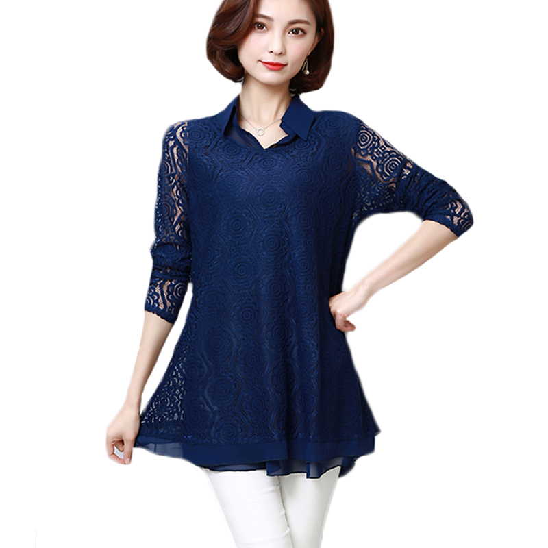 Ladies Sweet Hollow Out Flower Blouse Women New Casual Lace Patchwork Tops Long Sleeve Chiffon Shirts Fast Color Women's Clothing