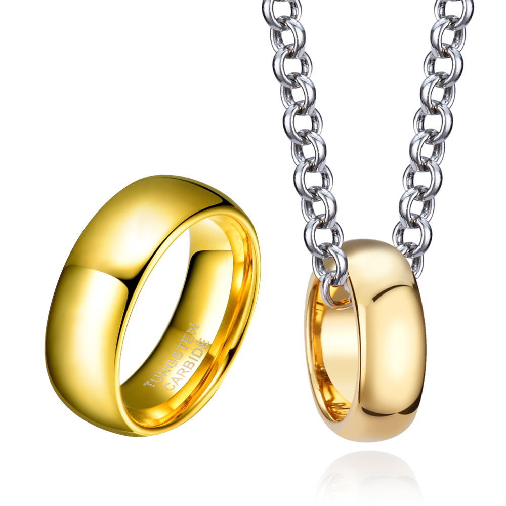 Pendant Tungsten-Carbide Jewelry-Set Neckalce Wide-Ring Bride Gold-Color And 8mm Charm