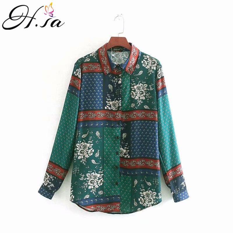 H.SA Blouses Woman 2019 Turn Down Collar Long Sleeve Green Retro Blouse And Tops Floral Print Blusa Mujer Vintage Summer Tops