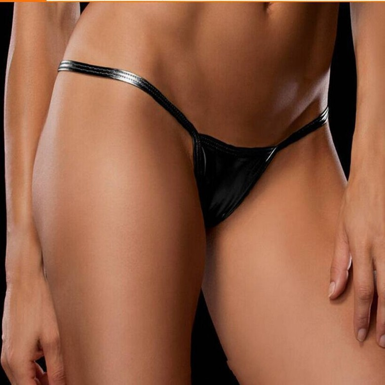 New Design Shiny G Strings Women Sexy Leather Panties For Women Underpants  Thongs Leather Briefs