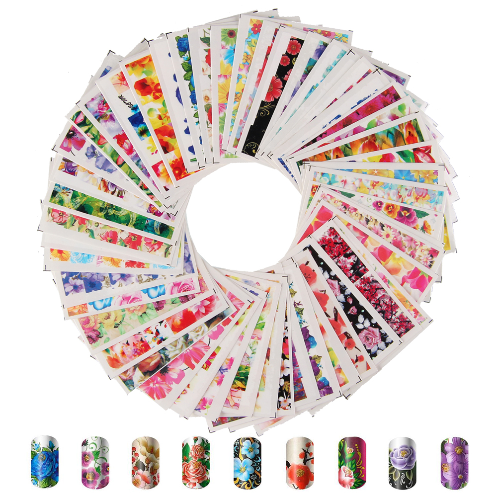 50 Sheets/Set Nail Art Water Transfer Decals Mixed Design Nail Art Stickers Watermark Decals DIY Decoration For Random Patterns 50 sheets 3d nail art stickers decals high quality mix color flowers design nail tips decoration tools