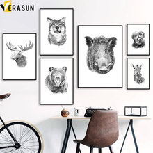 Deer Bear Wild Boar Zebra Dog Wolf Animal Wall Art Canvas Painting Nordic Posters And Prints Pictures For Living Room Decor