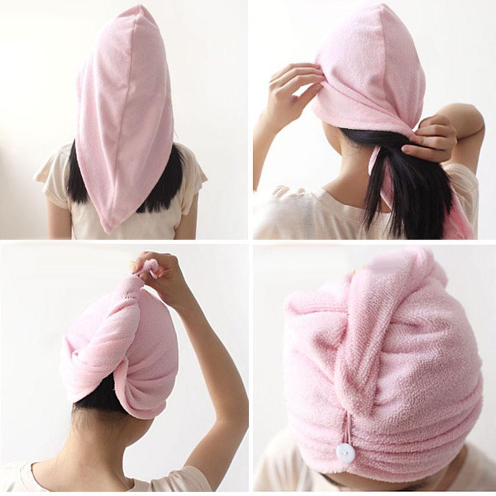 Microfibra caliente sombrero turbante Magic toalla absorbente cabello seco  rápido Bañeras pjw rosa ce48b2765