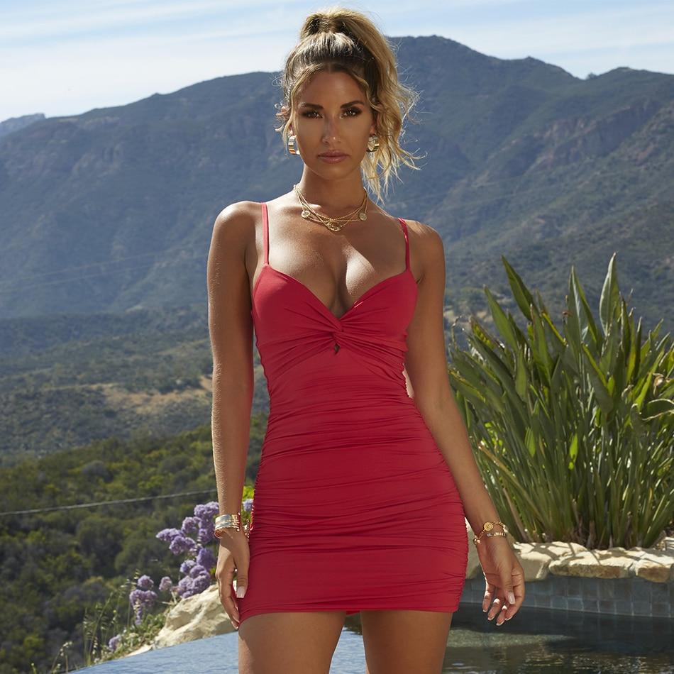 Adyce 2019 New Summer Women Red Nude Celebrity Evening Party Dress Vestido Elegant Sleeveless Spaghetti Strap