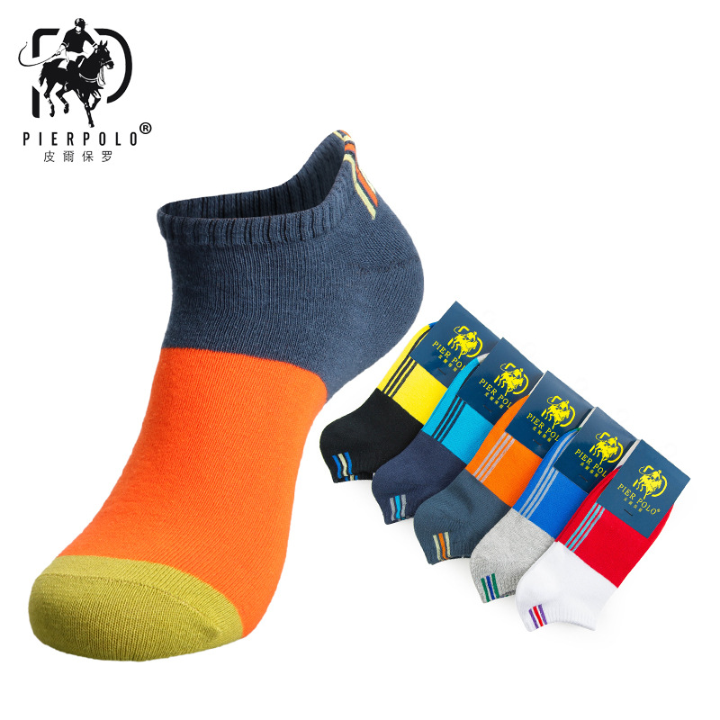 Spring/Summer Short Men Socks Male Fashion Colorful Brand Polo Socks For Men Casual Low Cut Ankle Cotton Socks 5Pairs/lot