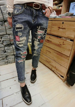 Dia Summer Hot Sale Women Casual Fashion Blue Ripped Full Length Button Fly Pockets Ripped Fake Zippers Size Lady Jeans