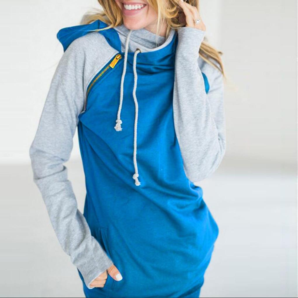 Women Oblique Zipper Neck Sweatshirts Girl Long Sleeve Casual Autumn Hoodies