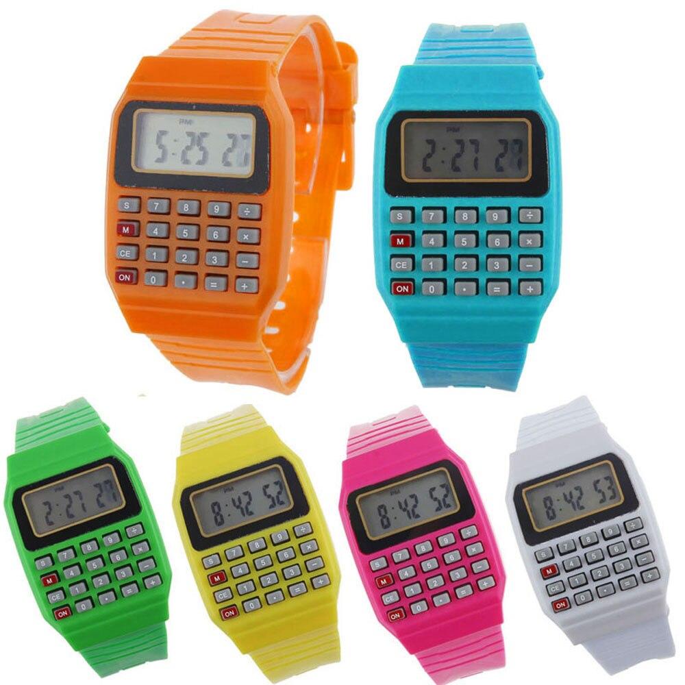 Niño y niña niños calculadora reloj vivo LED reloj unsex silicona ...