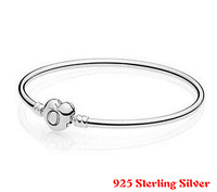 Authenetic 925 Sterling Silver Bangle Love Heart Shape Clasp Decorated Bracelet Bangle Fit Women Bead Charm