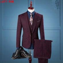 (Jacket+Vest+Pants)Fashion Leisure Suits  Men's Rhree-piece Wine Red Print Korean Slim After the Split Suit Bridegroom Wedding