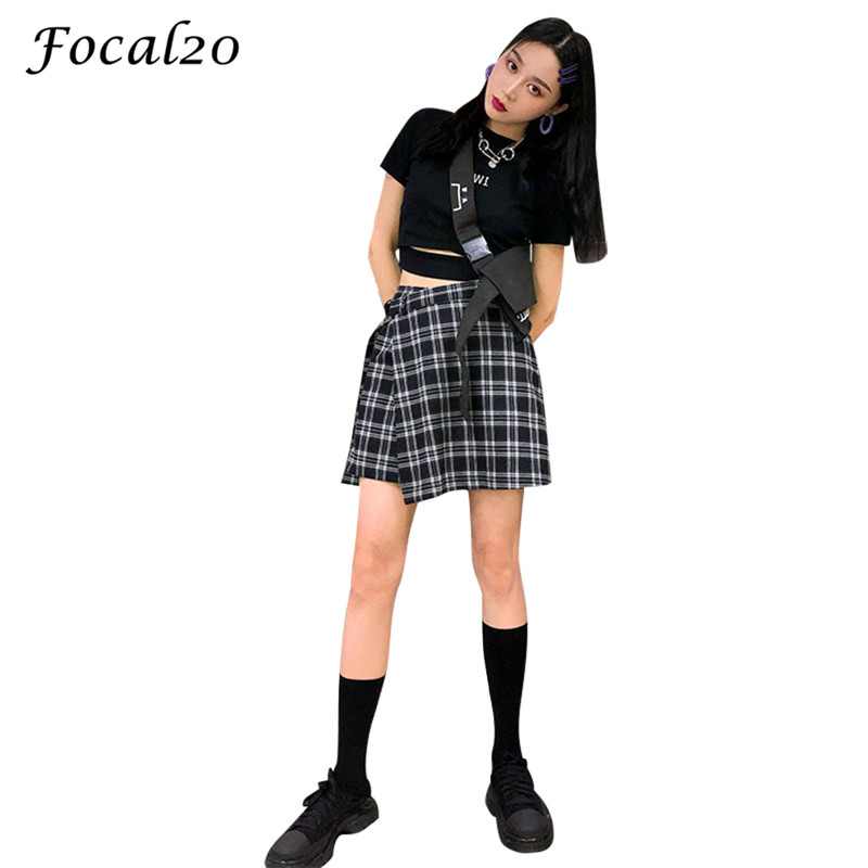 Focal20 Streetwear Plaid Buckle Women Irregular Shorts High Waist Casual Loose Sporting Shorts With Belt